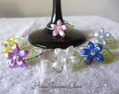 Spring Theme Flower Blossom Wine Glass Charms (set of 6)