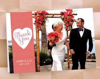 Custom Thank You Notes - Your Wedding Photo - Wedding Stationery - Bride and Groom - 250 Folding Cards with Envelopes