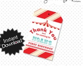 Editable Circus Party Favor Tags - Instant Download PDF Template - Editable PDF .. svc01
