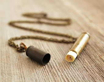 Unique Bullet Vial Locket Capsule Pendant Necklace - Gift - For Him - For Her - Bridesmaid - Groomsmen - Graduation - Mother Day