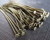 100X - antiqued bronze flat head 21 gauge, 2 inch long headpins .7 oz