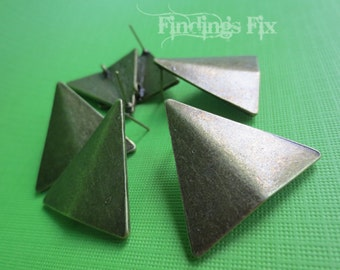 10X or 5 Pairs of Antiqued Bronze Metal Geometric Triangle Post Earring Findings with Loop for Boho Chic Jewelry Making, Lead & Nickel FREE