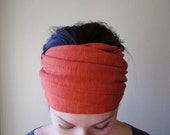 PAPRIKA Head Scarf - Rusty Red Hair Wrap - Jersey Ear Warmer - Extra Wide Headband - Womens Bohemian Hair Accessories