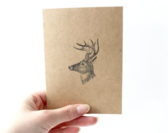 Cabin Christmas, Kraft Blank Note Cards, Woodland Animals, Nature Rustic Holiday, Deer, Bear, Evergreen Trees, Snowflake, Set of 4