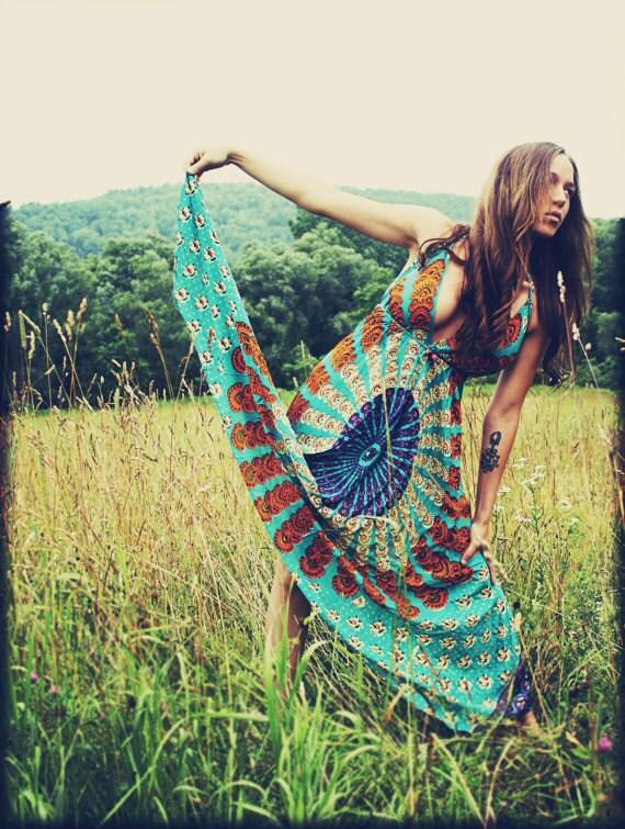 Handmade Hippie Dress, Long Maxi Dress, Bohemian, Tapestry Sundress, Scarf Dress, Chakra Dress, Festival Dress, Sunburst, Backless Dress