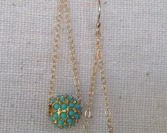 Pave Turquoise Gold Drop Earrings