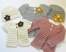 CROCHET PATTERN Toddler Cardigan & Beanie (4 sizes included from 6 months to 5 toddler) Instant Download