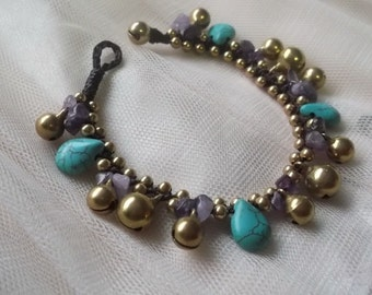 Turquoise drop tear-Amethyst stone nugget Bell Bracelet Thailand Handmade jewelry new collection on summer By Nannapatt