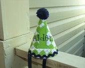 Green Argyle Birthday Ric Rac Hat with Navy Pom Pom