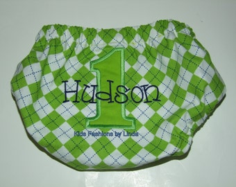 Personalized Lime Green Argyle with Lime Green Number/Navy Name Diaper Cover