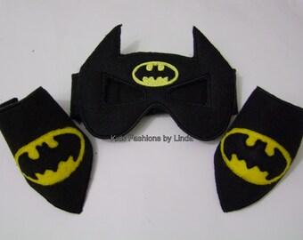 Black  Super Hero Mask and Cuff Set