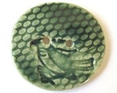 Extra Large Round Green Focal Button Bird, Knitting, Crochet, Journals, Handbags, Clothing