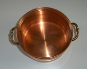 Old Solid Copper Pot Bowl Planter.