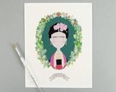 Frida Kahlo Print 8 x 10 Illustration Archival