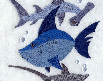 Shark Attack Embroidered Flour Sack Hand/Dish Towel