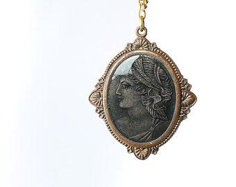 Antique Cameo Necklace, Art Deco jewelry, Mossy green Enamel, Great Gatsby 1920s jewelry