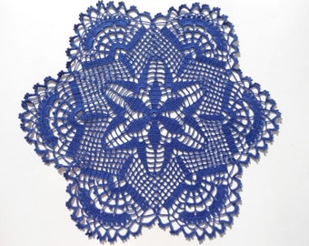 Crochet doily , dark blue , lace , round , 16 inches