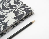 Planner for 2014, black ash grey white boho bohemian floral, A5 2014 daily diary with handmade material cover, refillable