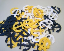 100 Yellow White Navy Blue Anchor  Confetti Nautical Die Cut Cutout Embellishment Table Scatter
