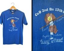 Vintage 80s Vietnam T-shirt Raw Steel Lean Mean Fighting Machine 2nd Battalion - Small