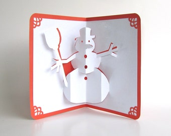 SNOWMAN 3D Pop Up CHRISTMAS Greeting Card in Shimmery Sparkling White Metallic Red Home Décor Handmade Handcut Origamic Architecture OOAK