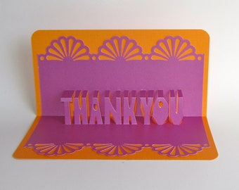 THANK YOU 3D Pop Up Greeting Card in Metallic Fuchsia on Orange Home Décor Handmade, Original Design, One Of A Kind