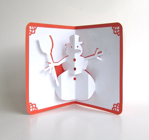 snowman 3d pop up christmas greeting card in shimmery. Black Bedroom Furniture Sets. Home Design Ideas