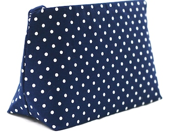 Navy Polka Dot Makeup Bag (Bridesmaid Gift, Cosmetic Bag, Party Favor, Navy Blue Baby Shower Prize)