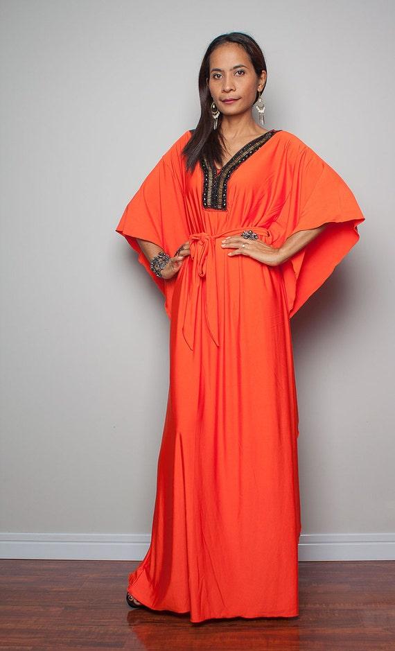 Kaftan Maxi Dress Orange Kimono Maxi Dress Elegant by Nuichan