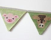 Crochet Bunting Farm Animal Bunting Banner