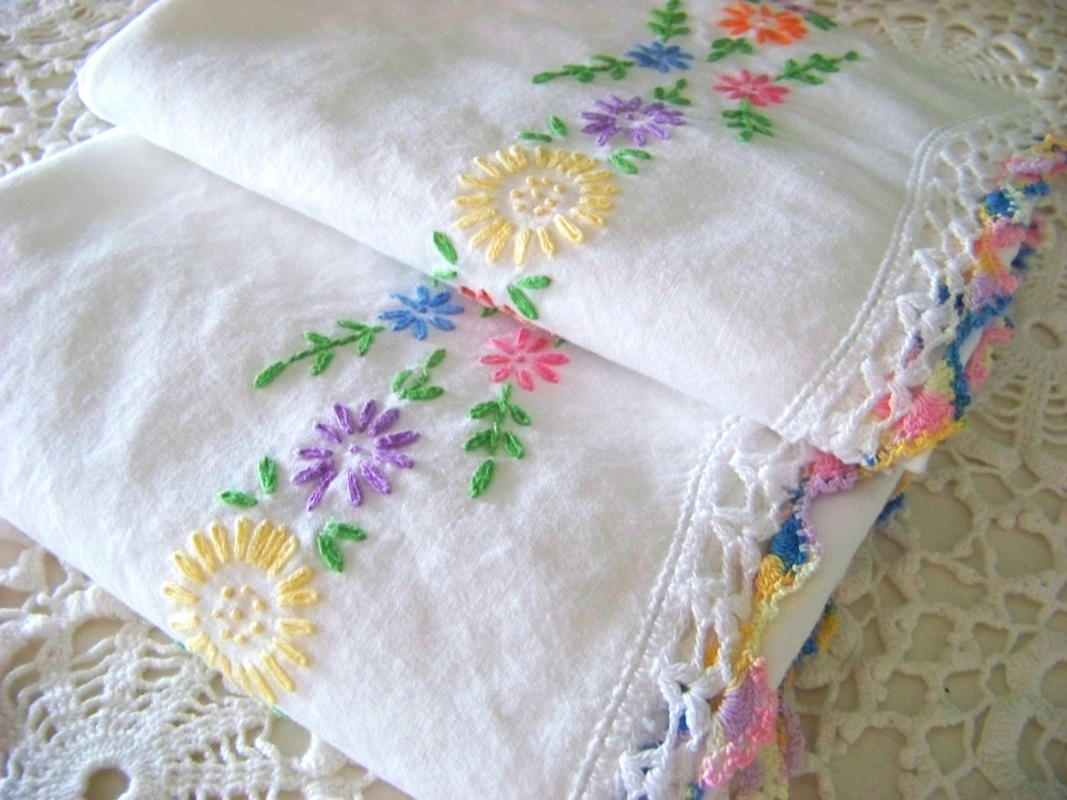Embroidered pillowcases vintage cotton floral by doesmeadow
