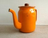 vintage french honey yellow enamel coffee pot / jug - gennamaria