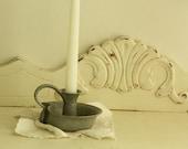 Pottery Candle Holder - Gray Candleholder - Williamsburg Style Candle Holder - Vintage Pottery Candle Holder
