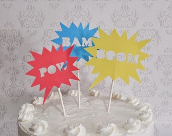 Super Hero Cake Topper Pow Bam Boom