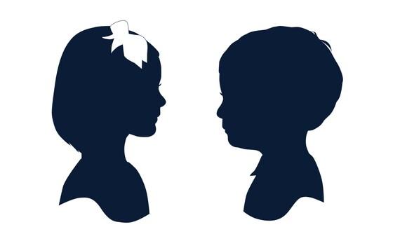 Set of two Custom Child Silhouettes- Printable