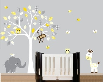 Childrens white tree owl wall decal jungle nursery set yellow and grey - 100