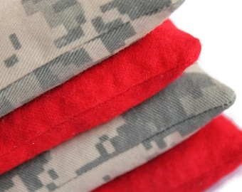 Bean Bags Camo ACU Twill & Bright Red Flannel Army Green Tan Khaki Children's Toy 3.5 Inch Square (set of 4) - US Shipping Included