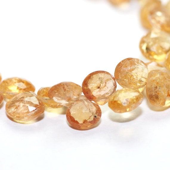 Imperial Precious Topaz Micro Faceted Heart Briolettes 4 Peach Golden Yellow Precious Gemstones November Birthstone
