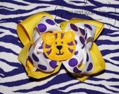 Tiger Hair Bow Center Embroidery Design Machine Applique