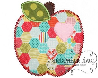 Back to School  Shabby Apple Embroidery Design Machine Applique