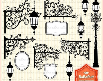 Instant Downloads, Vintage Street Lights & Banner Frames, For Wedding Invitations, Cards Making, Personal and Small Commercial Use. BP 0819