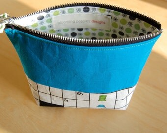 Zipper Pouch- Modern Make Up Bag, Accessories Organizer, with Designer Japanese Import Fabric and Metal Zipper Closure-THE MAYA
