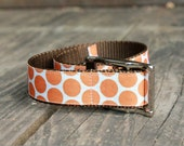 Orange Polka Dog Metal Dog Collar - MuttsnBones