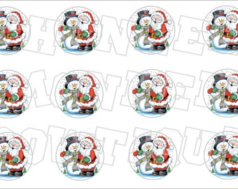 Santa and Snowman bottlecap image sheet