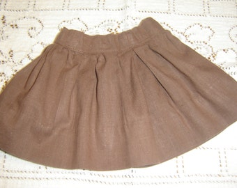 "Vintage doll's cotton flared skirt, milk chocolate brown, handmade doll skirt, fits 18"" doll, circa 1950s, doll collector, ready to ship"