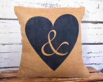 """Burlap heart pillow cover - 16"""" - with a handpainted heart with ampersand &  - Date can be added"""