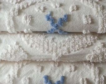 Chenille Bedspread Cream With Blue Tufting All Cotton