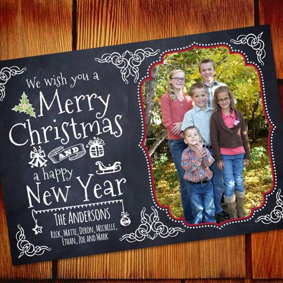 Christmas cards, chalkboard Christmas card, Happy New Year blackboard card, blackboard Christmas card, chalkboard holiday card, CC247