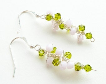 Pink Green Earrings Sterling Silver