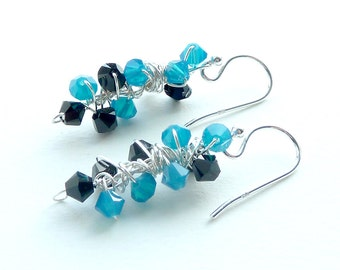 Turquoise Black Earrings Sterling Silver
